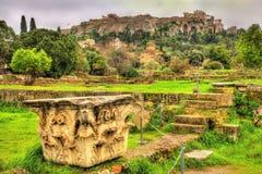 Koryncki kapitał przy Antyczną agorą Ateny Fotografia Stock
