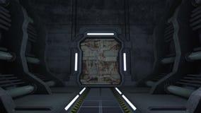korytarz Drzwi z zieleń ekranem 4K i alfa matte ilustracji
