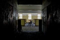 Korytarz Otwiera kabinki & Samotny wózek inwalidzki - Zaniechany szpital Fotografia Royalty Free