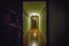 Korytarz, tunel z zieleni ścianami w bunkierze, otwarci ciężcy żelazni drzwi Fotografia Stock
