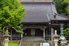 Koryu-ji Temple. This is the oldest temple in Hakodate. The existing main building was built around 1900. Carvings of lions and dragons engraved on the gate are Stock Photography