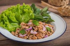 Korzenna minced wieprzowiny sałatka z warzywami, Tajlandzki jedzenie zdjęcia royalty free