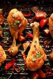 Korzenne piec na grillu kurczak nogi, drumsticks z dodatkiem chili pieprzy, czosnek i ziele na grilla talerzu, w g?r? zdjęcia royalty free