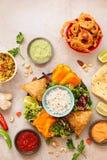 Korzenne warzywa i mięsa Indiańskie przekąski Obraz Royalty Free