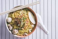 Korzennego lemongrass sosowani płascy kluski z wieprzowiną Zdjęcia Stock