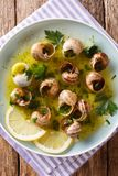 Korzenni Francuscy ślimaczki, escargot gotujący z masłem, pietruszka, cytryna obrazy stock
