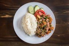 Korzenni kurczak sałatki ryż na białym tle zdjęcia royalty free