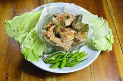 Korzenny łosoś w zielonym currym je pary z świeżym warzywem na naczyniu Obraz Stock
