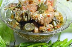 Korzenny łosoś w zielonym currym je pary z świeżym warzywem na naczyniu Fotografia Royalty Free