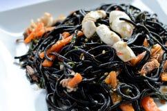 Korzenny czarny spaghetti Fotografia Stock