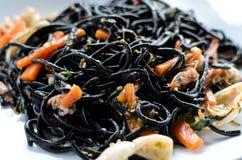 Korzenny czarny spaghetti Zdjęcia Stock