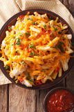 Korzenny fast food: Francuz smaży z serem, chili i chi cheddaru, zdjęcie stock
