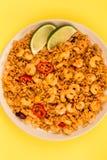 Korzenny meksykanin Rice Z Smażący wapno, garnelami I krewetki lub obraz royalty free