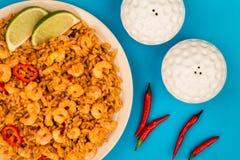 Korzenny meksykanin Rice Z Smażący wapno, garnelami I krewetki lub fotografia royalty free