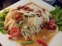 korzenny melonowa wezwania lub sałatki somtum, Tajlandzki jedzenie Zdjęcia Royalty Free