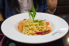 Korzenny smażący spaghetti Zdjęcia Royalty Free