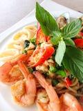 Korzenny spaghetti owoce morza Fotografia Royalty Free
