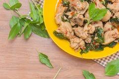 Korzenny Tajlandzki basil i kurczak obraz stock