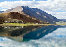 Korzok monastery and village with mountains and Tso Moriri lake Royalty Free Stock Photos