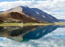 Korzok monastery and village with mountains and Tso Moriri lake Royalty Free Stock Photos