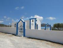 Kos ö-, blått- och vitkyrka Arkivfoton