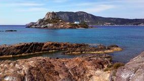 KOS - Agios Stefanos. Greece, Kos Island, Agios Stefanos, Little Island Castri, View from Kefalos, small island, aegean sea Royalty Free Stock Photos