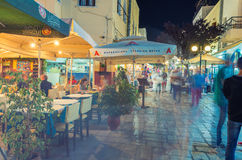KOS, GREECE - JUNE 7, 2014: City streets at night in summer seas. On. Kos is a preferred tourist destination in Greece Royalty Free Stock Photos