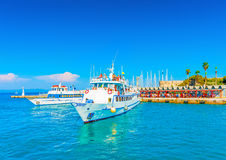 In Kos island in Greece. Cruising ships docked at the old main port of Kos island in Greece royalty free stock images
