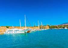 In Kos island in Greece. Cruising ships docked at the old main port of Kos island in Greece stock photos