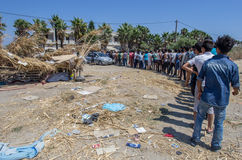 Kos refugees wait for food Royalty Free Stock Images