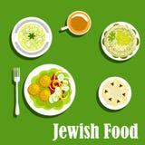 Koscher disk av judisk cuisine1 royaltyfri illustrationer