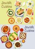 Koscher matsymbol för judisk kokkonst för menydesign royaltyfri illustrationer