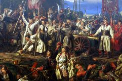 Kosciuszko at the Battle of Raclawice, painting detail. Kosciuszko at the Battle of Raclawice, oil on canvas painting by Jan Matejko at 19th Century Polish Art Stock Images