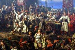 Kosciuszko bij de Slag van Raclawice, het schilderen detail stock afbeeldingen