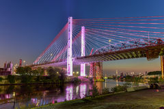 Kosciuszko Bridge - New York City. New and old Kosciuszko bridges joining Brooklyn and Queens in New York City across Newtown Creek. The new bridge is a cable Royalty Free Stock Photography