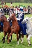 Końscy jeźdzowie przy Borodino batalistycznym dziejowym reenactment w Rosja Obraz Royalty Free