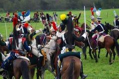 Końscy jeźdzowie przy Borodino batalistycznym dziejowym reenactment w Rosja Zdjęcie Royalty Free
