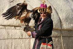 Kosh-Agach,Russia - September 21, 2014: The Hunter With An Eagle Royalty Free Stock Photo