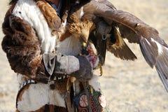 Kosh-Agach, Russie - 21 septembre 2014 : le chasseur avec un aigle Images stock