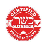 Kosher certified, fresh and tasty - printable label for food industry Royalty Free Stock Image