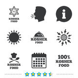 Kosher food product icons. Natural meal symbol. Kosher food product icons. Chef hat with fork and spoon sign. Star of David. Natural food symbols. Information Stock Photo