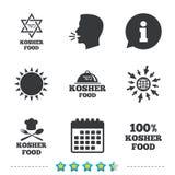Kosher food product icons. Natural meal symbol. Kosher food product icons. Chef hat with fork and spoon sign. Star of David. Natural food symbols. Information vector illustration