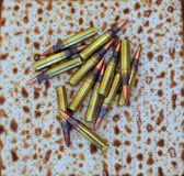 Kosher for Passover. Cartridges lie on  Jewish bread Royalty Free Stock Photo