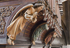 Kosice - Angel wooden statue on organ from 19. cent. in Saint Elizabeth gothic cathedral Stock Photo
