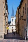 Kosice, Eslovaquia Iglesia calvinista en el streer de Hrnciarska Imagen de archivo libre de regalías