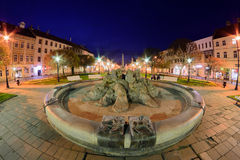 Kosice fountain fisheye Royalty Free Stock Photography