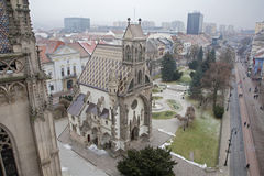Kosice - Outlook from Saint Elizabeth cathedral to Saint Michaels chapel Stock Photos