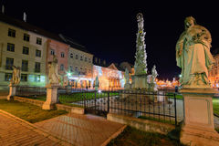 Kosice Plague Column in night Royalty Free Stock Image