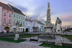 Kosice Plague Column. KOSICE, SLOVAKIA - April 11, 2015: Main street in city center with Plague Column in the evening in Kosice, Slovakia, April 11, 2015 stock photos
