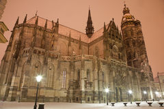 Kosice - Saint Elizabeth cathedral in winter evening. Royalty Free Stock Photography